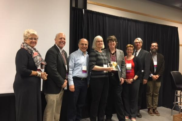 Caroline Breitenberger with 2017 University Academy of Teaching Founders Award and members of the Executive Council of the Academy of Teaching.